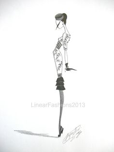 1960s fashion illustration, vine print wiggle dress, original pencil drawing, fashion art, decor or gift