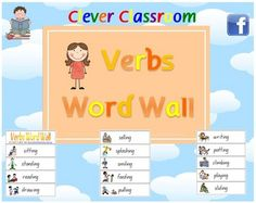 Verbs Picture Aides Word Wall - Literacy/Grammar/Writing -  - PDF file17 page file.Designed by Clever Classroom.81 action words with ap...