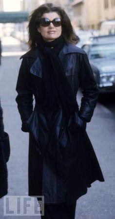Jackie O- chic black sunglasses & a black trench