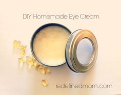 DIY eye cream: 1/2 cup Organic coconut oil (Coconut Oil acts as a moisturizer, antibiotic, multivitamin, multi-nutrient and antioxidant.) 6-8 Vitamin E capsules (Vitamin E Oil is a strong antioxidant that prevents premature aging and promotes healing.)