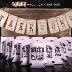 TOTALLY customize your perfect wedding favor koozie as we offer over 800 artwork templates to customize, 6 different styles of koozies & 32 product colors.  Create your ultimate #wedding favor here!