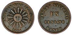 1 CENT / 1 CENTAVO. Cu. CONFEDERACIÓN ARGENTINA. 1854. VF/MBC. OPORTUNIDAD.