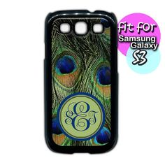 Shop for on Etsy, the place to express your creativity through the buying and selling of handmade and vintage goods. Samsung Galaxy S3, Peacock, Feather, Monogram, Phone Cases, Unique Jewelry, Handmade Gifts, Etsy, Kid Craft Gifts