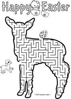 Print out easter mazes puzzles lamb to find the eggs worksheet for kids.free online print out word search activities worksheets mazes and puzzles for preschool.happy easter coloring pages for kids