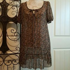 Boho Chic Tunic Dress Bohemian gauzy dress with floral pattern, can be worn as a dress or with leggings. Xhilaration Dresses Midi