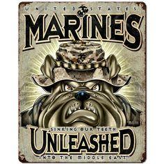 USMC 'Unleashed' 7.62 Design Vintage Steel Sign