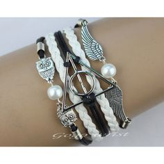 harry potter bracelet, Infinity bracelet, owl wing bracelet, gold bead... ($5.59) ❤ liked on Polyvore featuring jewelry, bracelets, accessories, harry potter, hogwarts, wing jewelry, owl charm jewelry, charm bangles, infinity bangle and clear jewelry