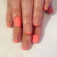 Simple nude and hot peach French gel mani