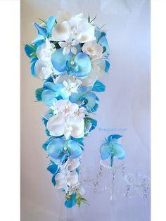 Bouquet de mariée cascade orchidée blanc blue turquoise jasmin plume fleur artificielle et la boutonnière (réf,bouquet-c026) : Autres accessoires par fleur-angelique