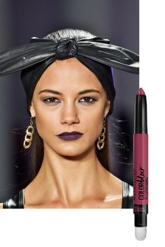 """""""Femme fatale"""" is how makeup artist Gato described the designers' woman. To contrast the sweet, sorbet-colored dresses in the collection, he reached for a vampy, wine-colored lipstick that played off sultry cutouts and plunging necklines. For a similar look, try Maybelline New York Lip Studio Color Blur Matte Pencil in Plum Please ($9)."""