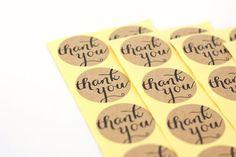 Set of 28 Kraft Stickers  Thank You in script by HowJoyfulSupplies, $3.50