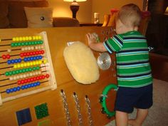 Awesome homemade sensory board! What fun! (http://playathomemom3.blogspot.com/)