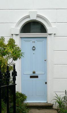 Baby Blue Front Door Colors Ideas For 2019 Green Front Doors, Exterior Front Doors, Front Door Colors, Patio Doors, Blue Doors, Garage Doors, Victorian Front Doors, French Door Curtains, Door Makeover
