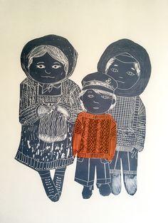 Ganseys - Lino Cut by Kim Jenkins
