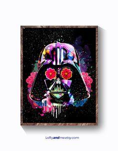 poster starwars, lado oscuro, poster pelicula, Cartel  película de Star wars, Darth Vader,  Impresión de Star Wars, Arte pared de Star Wars de LOFTYandME en Etsy