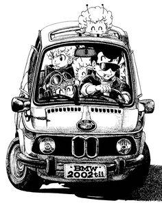 Slump - by - Akira Toriyama Akira, Dragon Ball, Bd Comics, Anime Comics, Car Illustration, Illustrations, Manga Art, Manga Anime, Mini Velo
