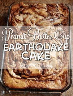 This Peanut Butter Cup Earthquake Cake looks so easy and delicious! It's a chocolate swirl dessert that's make from a box cake mix. Taste's like a Reeses Peanut Butter Cup!