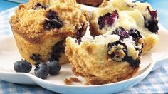 These streusel-topped muffins studded with delicious blueberries are made easily using Gold Medal® all-purpose flour in less than an hour! For Lance.