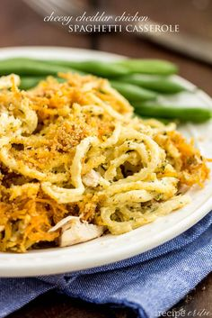 Cheesy Cheddar Chicken Spaghetti Casserole is packed with cheese and so many amazing flavors creating a casserole that the entire family will devour!