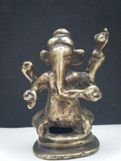 Vintage Hindu God GANESHA RARE Indian Statue Brass Elephant God Rare #799