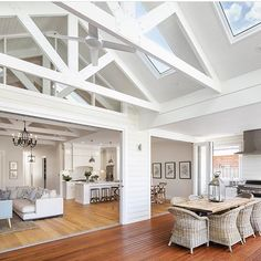 Inspiration ~ We love the look of the exposed trusses & think the skylights are perfectly placed. Well done Phil & Amity your home is… Die Hamptons, Hamptons Style Homes, Estilo Hampton, Beach House Style, Exposed Trusses, Cottage Shabby Chic, Architecture Renovation, Modern Country Style, Custom Built Homes