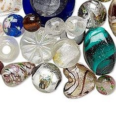 Bead mix, lampworked glass, mixed colors, 7x5mm-29x20mm mixed shape. Sold per 1/4 pound pkg, approximately 20-25 beads.