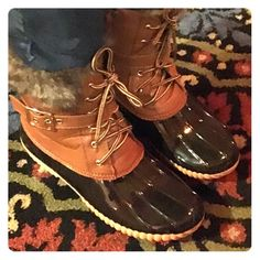 Chestnut colored duck boots with fur- waterproof Waterproof bottom (made of patent looking rubber) these duck boots are fleece lined, comfy and warm!!!! Fit true to size. Shoes Winter & Rain Boots