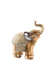 Figura de elefante con trompa hacia arriba, representa la buena suerte y la prosperidad y nunca deben faltar los colmillos, los cuales representan el poder. Fabricado en resina. Color dorado y detalles en plateado.  Figura decorativa una opción ideal para decorar espacios elegantes y donde se desee dar un toque de glamour en el ambiente. Envíos en 24h, muchos mas modelos en nuestra pagina web. Indiana, Color Dorado, Foto Pose, Precious Moments, Chinese Art, Elephants, Bedroom Decor, Pottery, Glamour