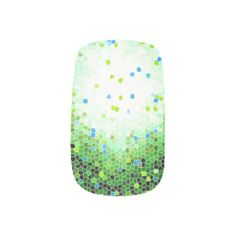 Green Black White Exploding Mosaic Minx Nails Fingernail Decal