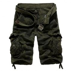 Loose Fit Straight Leg Multi-Pocket Camo Print Zipper Fly Cargo Shorts For Men from $20.35 by NASTYDRESS
