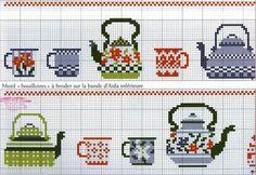 ru / Фото - разное - irisha-ira / more brightly colored teacups… Cross Stitch Kitchen, Mini Cross Stitch, Cross Stitch Needles, Cross Stitch Borders, Cross Stitch Designs, Cross Stitching, Cross Stitch Patterns, Diy Embroidery, Cross Stitch Embroidery