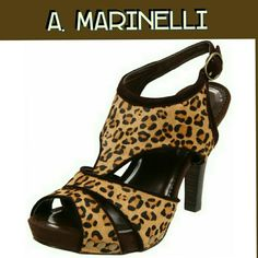 "A. Marinelli 'Qualm' platform sandal 'Qualm' platform sandal leopard calf hair with approx. 4"" heels and aporox. .75"" platform. Leather upper,  rubber sole, padded sole. *** Size 8.5M but fits like sz 8M.***  New with out box. A. Marinelli Shoes Platforms"