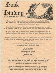 Book binding (to ensure its return)