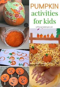 Here are some great pumpkin activities for kids that you can use for Halloween, for Thanksgiving, or just because they are tons of fun! Apple Activities, Autumn Activities For Kids, Fall Preschool, Halloween Activities, Preschool Activities, Crafts For Kids, Thanksgiving Activities, Thanksgiving Crafts, Family Activities