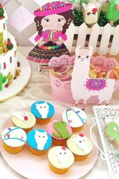 Take a look at this incredible llama birthday party! The cupcakes are awesome!! See more party ideas and share yours at CatchMyParty.com #catchmyparty #partyideas #llamaparty #llamas #girlirthdayparty #fiesta #lamacupcakes