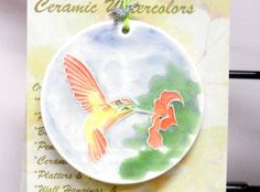 HUMMING BIRD Ceramic-Watercolor Ornament for by FaithAnnOriginals