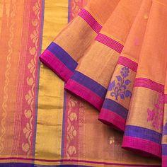 Venkatagiri weave - cotton * linen -120 count - Saffron w small prints on body tissue border;body color blouse.