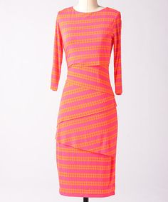 Take a look at this Tangerine & Berry Lombard Dress by Down East Basics on #zulily today!