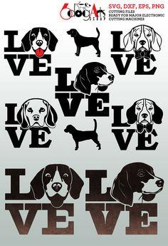 Beagle Dog Love Vector Digital Cut Files Svg Dfx Eps Png