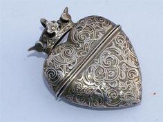 Antique Silver Scandanavian Hovedvandsaegs Heart Shaped Lidded Box Pendant
