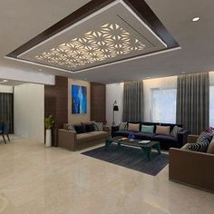 A room is a floor-to-ceiling design, and the lighting can be the final link that completes the space. Contact us for more details at Gypsum Ceiling Design, Interior Ceiling Design, House Ceiling Design, Ceiling Design Living Room, False Ceiling Living Room, Bedroom False Ceiling Design, Ceiling Decor, Living Room Designs India, Living Room Partition Design