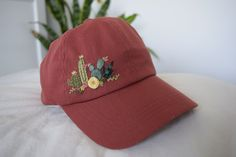 Cactus, Wildflower, and Succulent Hand Embroidered Cotton Baseball Hat – Embroidery – Women's Hat – Hiking Hat – Dad Hat – Snapback- Gift - women hats Hat Embroidery, Embroidery On Clothes, Embroidered Clothes, Custom Embroidery, Floral Embroidery, Embroidery Patterns, Embroidered Baseball Caps, Embroidered Cactus, Hiking Hat