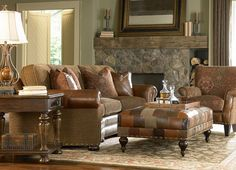 Another leather AND fabric.  This would be perfect for my farmhouse!