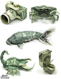 origami money - What a fun way to give a money gift! Dollar Bill Origami, Money Origami, Origami Paper, Origami Ball, Origami Boxes, Folding Money, Paper Folding, Origami Folding, Graduation Cap Tassel