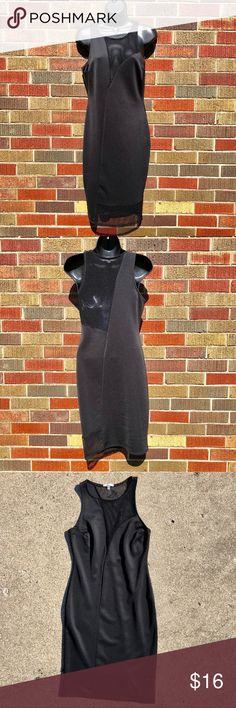 Charlotte Russe Medium black panel bodycon dress Charlotte Russe black dress with mesh panels on the top and bottom of the front and back. Body forming dress. Size medium. In very good used condition. No rips, stains, etc. Smoke free home.  BUNDLE SPECIAL: 15% off 3 or more items from my closet! Charlotte Russe Dresses Midi