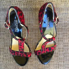 🎉SALE!🎉MICHAEL by Michael Kors open toe heels Michael by Michael Kors cheetah red fur and black.  Perfect show for a black or red outfit.  Gently loved in great condition. MICHAEL Michael Kors Shoes Platforms