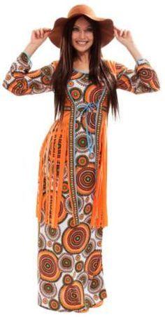 88845304a5e687 Hippie Kostüm Vintage für Damen aus Elastik-Jersey
