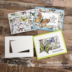 I've got 6 Easy Cards You Can Make in Under 30 Minutes. I'm showing off lovely Designer Series Paper (aka- scrapbook paper)! You'll love these card layouts! Card Making Tips, Card Making Tutorials, Fancy Fold Cards, Folded Cards, Butterfly Cards, Butterfly Kit, Stamping Up Cards, Card Sketches, Easy Cards