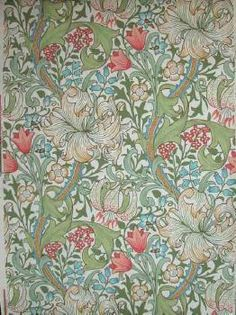 Golden Lily wallpaper. This reproduction Morris & Co wallpaper was installed at the Mint, Macquarie Street, Sydney during a c1980 restoration. Morris & Co reproductions, largely from the last third of the 19th century, have been favourites of people renovating houses of this period. However, in Australia there is little evidence of the use of Morris & Co wallpapers in any homes in the 19th/early 20th c except among some families in South Australia. Caroline Simpson Library & Research…