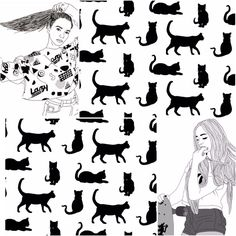 #Cats #Girls #Collage 🐱🙊